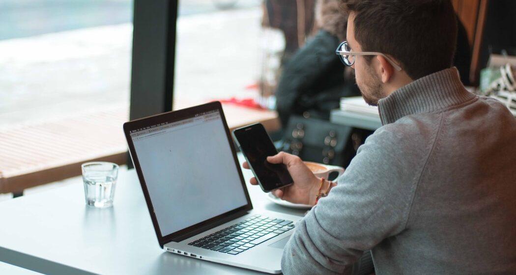Remote work in a café.