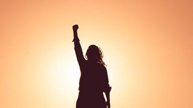 Woman fist silhouette.