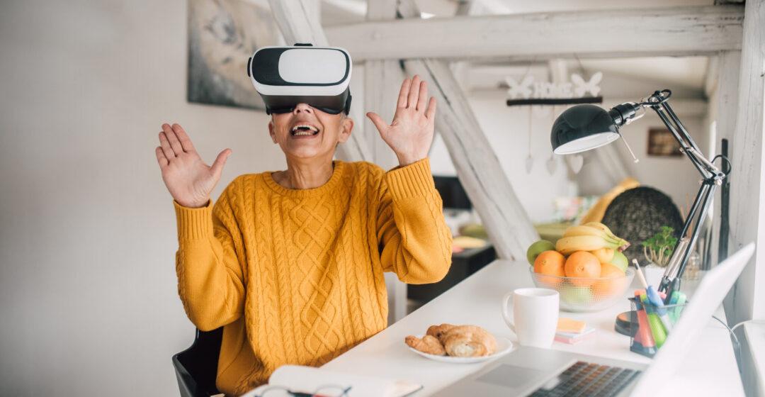 Mature woman wearing 3D eyeglasses at home.